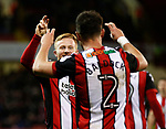 Mark Duffy of Sheffield Utd does a finger celebration with scorer George Baldock of Sheffield Utd during the Championship match at Bramall Lane Stadium, Sheffield. Picture date 26th December 2017. Picture credit should read: Simon Bellis/Sportimage