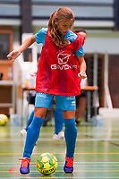 20190915– HALLE , BELGIUM : FP Halle-Gooik Girls B's player S Comblez is pictured during the Belgian Women's Futsal D1 match between FP Halle-Gooik A and FP Halle-Gooik B on Sunday 15th 2019 at the De Bres Sport Complex in Halle, Belgium. PHOTO SPORTPIX.BE | Sevil Oktem