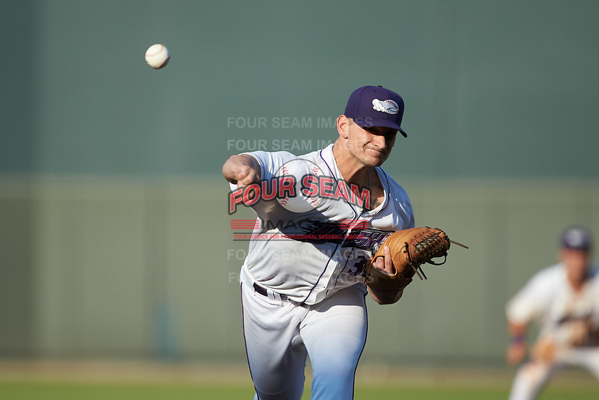 Winston-Salem Dash relief pitcher Zach Lewis (30) delivers a pitch to the plate against the Carolina Mudcats at BB&T Ballpark on June 1, 2019 in Winston-Salem, North Carolina. The Mudcats defeated the Dash 6-3 in game one of a double header. (Brian Westerholt/Four Seam Images)