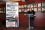 Michael Moore announces he will make his Broadway debut with 'The Terms of My Surrender' at Sardi's on May 1, 2017 in New York City.
