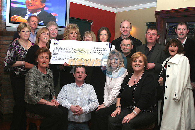 Friends and family of the McDonnell family in McCormacks Lounge in Balscadden for the presentation of a cheque for 18,500 from the David McDonnell Memorial Fund to the Make a Wish Foundation...Photo NEWSFILE/Jenny Matthews.(Photo credit should read Jenny Matthews/NEWSFILE)....This Picture has been sent you under the condtions enclosed by:.Newsfile Ltd..The Studio,.Millmount Abbey,.Drogheda,.Co Meath..Ireland..Tel: +353(0)41-9871240.Fax: +353(0)41-9871260.GSM: +353(0)86-2500958.email: pictures@newsfile.ie.www.newsfile.ie.FTP: 193.120.102.198.