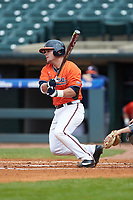 Caleb Knight (5) of the Virginia Cavaliers follows through on his swing against the Duke Blue Devils in Game Seven of the 2017 ACC Baseball Championship at Louisville Slugger Field on May 25, 2017 in Louisville, Kentucky. The Blue Devils defeated the Cavaliers 4-3. (Brian Westerholt/Four Seam Images)