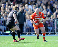 Dan Cole of Leicester Tigers in action during the Aviva Premiership Rugby match between Saracens and Leicester Tigers at Allianz Park on Saturday 11th April 2015 (Photo by Rob Munro)