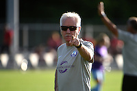 Kansas City, MO - Saturday May 28, 2016: Orlando Pride head coach Tom Sermanni before the game against FC Kansas City during a regular season National Women's Soccer League (NWSL) match at Swope Soccer Village. Kansas City won 2-0.