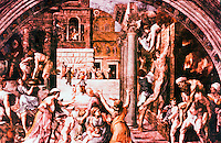 """Vatican:  Raphael's Rooms--""""Fire in the Borgo"""", a fresco by Raphael in one of the reception rooms (Fire in the Borgo) of the Palace of the Vatican."""