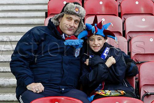 21.03.2015.  London, England. Barclays Premier League. West Ham versus Sunderland.  West Ham fans waiting for kick off at the Boleyn Ground