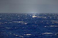 Yacht sailing between Tenerife and La Gomera, Canary Islands, Spain