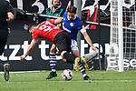 11.05.2019, BayArena, Leverkusen, GER, 1. FBL, Bayer 04 Leverkusen vs. FC Schalke 04 ,<br />  <br /> DFL regulations prohibit any use of photographs as image sequences and/or quasi-video<br /> <br /> im Bild / picture shows: <br /> Kevin Volland (Leverkusen #31), im Zweikampf gegen  Benjamin Stambouli (FC Schalke #17),  <br /> <br /> Foto &copy; nordphoto / Meuter