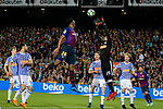 Goalkeeper Miguel Angel Moya of Real Sociedad (R) fights for the ball with Yerry Fernando Mina of FC Barcelona (L) during the La Liga match between Barcelona and Real Sociedad at Camp Nou on May 20, 2018 in Barcelona, Spain. Photo by Vicens Gimenez / Power Sport Images