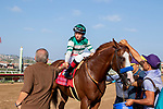"DEL MAR, CA  AUGUST 25:   #1 Catalina Cruiser, ridden by Drayden Van Dyke, return to the connections after winning the Pat O'Brien Stakes (Grade ll), Breeders' Cup ""Win and You're In Dirt Mile Division"" on August 25, 2018 at Del Mar Thoroughbred Club in Del Mar, CA.(Photo by Casey Phillips/Eclipse Sportswire/Getty ImagesGetty Images"