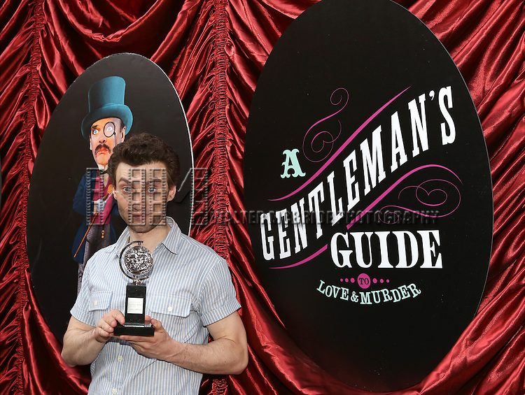 Bryce Pinkham  during the cast and fan Tony Award celebration outside 'A Gentleman's Guide to Love and Murder'  at Walter Kerr Theatre on June 18, 2014 in New York City..