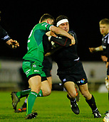 9th February 2018, Galway Sportsground, Galway, Ireland; Guinness Pro14 rugby, Connacht versus Ospreys; Kieron Fonotia (Ospreys) tries to get past Tom Farrell (Connacht)
