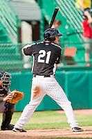 David Dahl (21) of the Grand Junction Rockies at bat against the Billings Mustangs at Suplizio Field on July 25, 2012 in Grand Junction, Colorado.  The Mustangs defeated the Rockies 12-11 in 10 innings.  (Brian Westerholt/Four Seam Images)