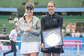 12th January 2018,  Kooyong Lawn Tennis Club, Kooyong, Melbourne, Australia; Priceline Pharmacy Kooyong Classic tennis tournament; Belinda Bencic of Switzerland and Andrea Petkovic of Germany smile with their trophies after the final of the Kooyong Classic Women's final