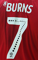 The Mind squiggle shown on the name and number on the shirt of Fleetwood Town's Wes Burns<br /> <br /> Photographer Stephen White/CameraSport<br /> <br /> The EFL Sky Bet League One - Fleetwood Town v AFC Wimbledon - Saturday 4th August 2018 - Highbury Stadium - Fleetwood<br /> <br /> World Copyright &copy; 2018 CameraSport. All rights reserved. 43 Linden Ave. Countesthorpe. Leicester. England. LE8 5PG - Tel: +44 (0) 116 277 4147 - admin@camerasport.com - www.camerasport.com