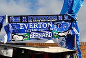 2nd February 2019, Goodison Park, Liverpool, England; EPL Premier League Football, Everton versus Wolverhampton Wanderers; Merchandise on sale outside the ground before the game