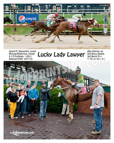 Lucky Lady Lawyer winning at Delaware Park on 10/7/13