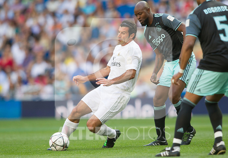 Luis Figo and Wiston Bogarde during the Corazon Classic Match 2016 at Estadio Santiago Bernabeu between Real Madrid Legends and Ajax Legends. Jun 5,2016. (ALTERPHOTOS/Rodrigo Jimenez)
