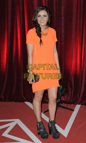 Chelsea Halfpenny.attended the British Soap Awards 2013, Media City, Salford, Manchester, England, UK, 18th May 2013..arrivals full length orange dress black boots bag .CAP/CAN.©Can Nguyen/Capital Pictures.