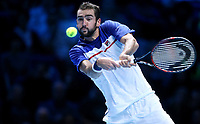 Marin Cilic in action against Alexander Zverev<br /> <br /> Photographer Rob Newell/CameraSport<br /> <br /> International Tennis - Barclays ATP World Tour Finals - O2 Arena - London - Day 1 - Sunday 12th November 2017<br /> <br /> World Copyright &copy; 2017 CameraSport. All rights reserved. 43 Linden Ave. Countesthorpe. Leicester. England. LE8 5PG - Tel: +44 (0) 116 277 4147 - admin@camerasport.com - www.camerasport.com
