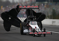 Mar 18, 2016; Gainesville, FL, USA; NHRA top fuel driver Steve Torrence during qualifying for the Gatornationals at Auto Plus Raceway at Gainesville. Mandatory Credit: Mark J. Rebilas-USA TODAY Sports