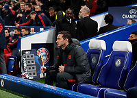 25th February 2020; Stamford Bridge, London, England; UEFA Champions League Football, Chelsea versus Bayern Munich; Chelsea Manager Frank Lampard sitting in the dugout before kick off