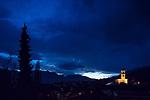 Stormy cloud over Mauren at dusk, Rheintal, Rhine-valley, Liechtenstein.