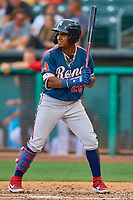 Domingo Leyba (26) of the Reno Aces bats against the Salt Lake Bees at Smith's Ballpark on June 27, 2019 in Salt Lake City, Utah. The Aces defeated the Bees 10-6. (Stephen Smith/Four Seam Images)