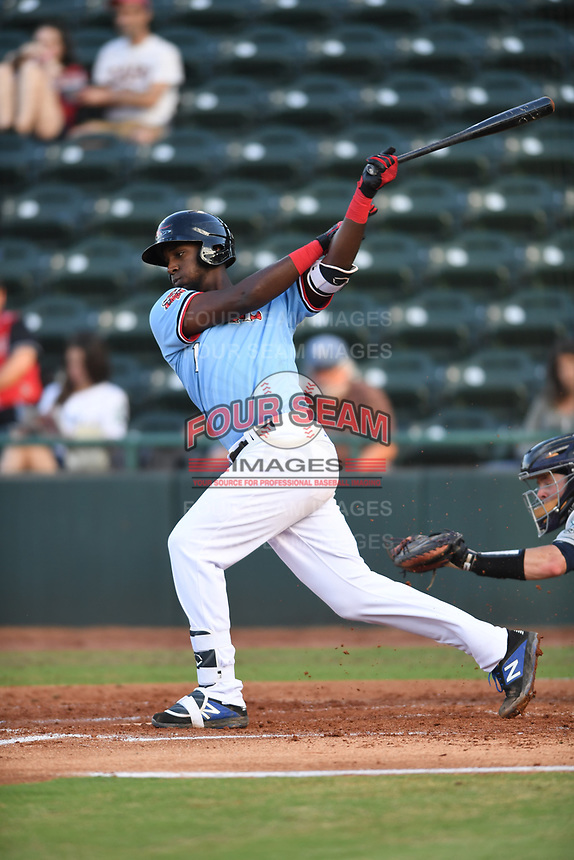 Hickory Crawdads Sherten Apostel (13) bats during a game with the Asheville Tourists at L.P. Frans Stadium on May 8, 2019 in Hickory, North Carolina.The Tourists defeated the Crawdads 7-6. (Tracy Proffitt/Four Seam Images)