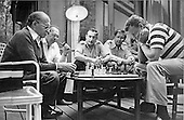 Prime Minister Menachem Begin of Israel, left, engages White House National Security Adviser Zbigniew Brzezinski, right, on the chess board during the Camp David Summit in Thurmont, Maryland on September 9, 1978.  From left to right: Prime Minister Begin; Ambassador of Israel to the United States Simcha Dinitz; Military Secretary to the Prime Minister of Israel Brigadier General Ephraim Poran; Dan Patir, PM Begin's Press Secretary; and Zbigniew Brzezinski..Mandatory Credit: White House via CNP.
