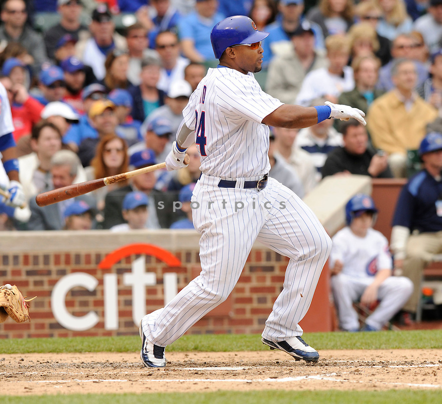 MARLON BYRD, of the Chicago Cubs in action during the Cubs game against the Pittsburgh Pirates  at Wrigley Field in Chicago, IL  on May 15, 2010...The Pittsburgh Pirates  win 4-3.