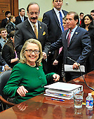 "United States Secretary of State Hillary Rodham Clinton, lower left, is seated by Ranking Member Eliot Engel (Democrat of New York), top left, and Chairman Ed Royce (Republican of California), top right prior to giving testimony before the U.S. House Committee on Foreign Relations hearing on ""Terrorist Attack in Benghazi: The Secretary of State's View"" in Washington, D.C. on Wednesday, January 23, 2013..Credit: Ron Sachs / CNP.(RESTRICTION: NO New York or New Jersey Newspapers or newspapers within a 75 mile radius of New York City)"