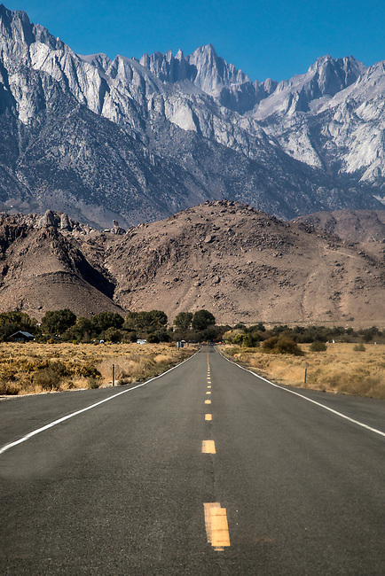 The granite peaks of the Sierra Nevada Mountain Range from the Owens Valley of California