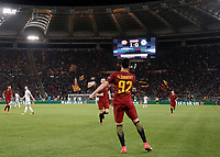Football Soccer: UEFA Champions League AS Roma vs Chelsea Stadio Olimpico Rome, Italy, October 31, 2017. <br /> Roma's Stephan El Shaarawy celebrates with his teammates after scoring their second goals during the Uefa Champions League football soccer match between AS Roma and Chelsea at Rome's Olympic stadium, October 31, 2017.<br /> UPDATE IMAGES PRESS/Isabella Bonotto