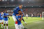 28.11.2019: Feyenoord v Rangers: Alfredo Morelos celebrates his goal for Rangers with James Tavernier