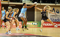 16.07.2015 Silver Ferns Shannon Francois and Fiji's Afa Rusivakula in action during the Silver Fern v Fiji netball test match played at Te Rauparaha Arena in Porirua. Mandatory Photo Credit ©Michael Bradley.