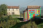 La Cappella di Sol Lewitt e David Tremlett tra le vigne di La Morra .The chapel painted by Sol Lewitt and David Tremlett in the La Morra vineyard. .April 2007.Ph. Marco Saroldi/Pho-to.it