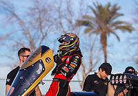 Feb 2, 2017; Chandler, AZ, USA; NHRA top fuel driver Leah Pritchett during Nitro Spring Training preseason testing at Wild Horse Pass Motorsports Park. Mandatory Credit: Mark J. Rebilas-USA TODAY Sports