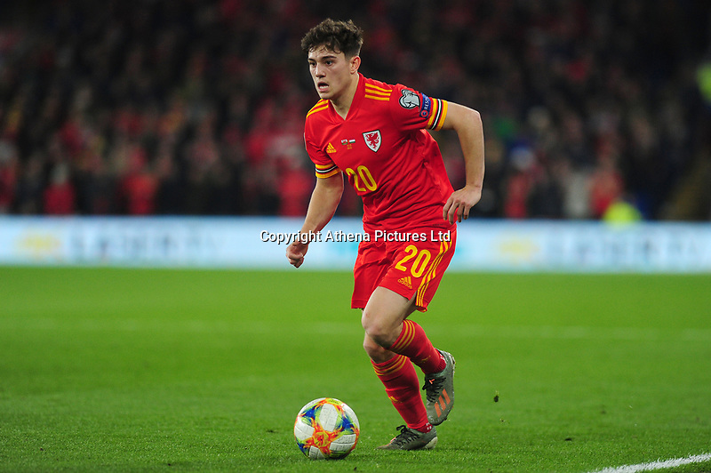 Daniel James of Wales in action during the UEFA Euro 2020 Group E Qualifier match between Wales and Hungary at the Cardiff City Stadium in Cardiff, Wales, UK. Tuesday 19th November 2019