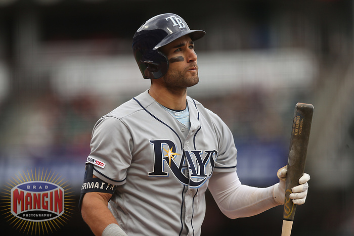 SAN FRANCISCO, CA - APRIL 5:  Kevin Kiermaier #39 of the Tampa Bay Rays bats against the San Francisco Giants during the game at Oracle Park on Friday, April 5, 2019 in San Francisco, California. (Photo by Brad Mangin)
