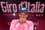 Richard Carapaz (ECU) Movistar Team wins solo and goes into the race leaders Maglia Rosa at the end of Stage 14 of the 2019 Giro d'Italia, running 131km from Saint-Vincent to Courmayeur (Skyway Monte Bianco), Italy. 25th May 2019<br /> Picture: Gian Mattia D'Alberto/LaPresse | Cyclefile<br /> <br /> All photos usage must carry mandatory copyright credit (© Cyclefile | Gian Mattia D'Alberto/LaPresse)