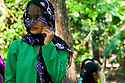 SREY BREY VILLAGE, CAMBODIA-- Aiyas wears traditional Imam San Cham clothing during wedding rituals in her village in Kampong Chhnang province. The Imam San are members of Cambodia's Muslim minority. PHOTO BY JODI HILTON
