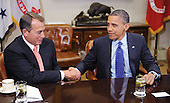 United States President Barack Obama shakes hands with Speaker of the U.S. House John Boehner (Republican of Ohio) during a meeting with bipartisan group of Congressional leaders in the Roosevelt Room of the White House on Friday, November 16, 2012 in Washington, DC. .Credit: Olivier Douliery / Pool via CNP