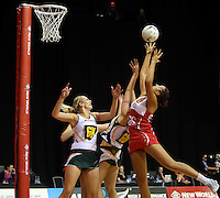 01.11.2012 England's Rosie Allison and South Africa's Vanes-mari De Toit in action during the netball test match between England and South Africa as part of the Quad Series played at the Claudelands Arena in Hamilton. Mandatory Photo Credit ©Michael Bradley.