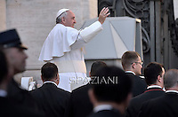 Pope Francis  during his weekly general audience in St. Peter square at the Vatican, Wednesday. February 18, 2015