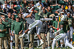 Baylor Bears cornerback Derrek Thomas (23) and Oklahoma State Cowboys wide receiver Tylan Wallace (2) in action during the game between the OSU Cowboys and the Baylor Bears at the McLane Stadium in Waco, Texas.