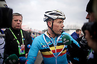 Sven Nys (BEL/Crelan-AAdrinks) interviewed post-race<br /> <br /> Elite Men's race<br /> <br /> 2015 UCI World Championships Cyclocross <br /> Tabor, Czech Republic