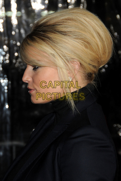 "JESSICA SIMPSON.""Extraordinary Measures"" Los Angeles Premiere held at Grauman's Chinese Theatre, Hollywood, California, USA..January 19th, 2010.headshot portrait black high collar beehive teased hair big sweeping fringe profile  .CAP/ADM/BP.©Byron Purvis/AdMedia/Capital Pictures."