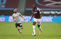 West Ham United's Arthur Masuaku and Charlton Athletic's Erhun Oztumer<br /> <br /> Photographer Rob Newell/CameraSport<br /> <br /> Carabao Cup Second Round Northern Section - West Ham United v Charlton Athletic - Tuesday 15th September 2020 - London Stadium - London <br />  <br /> World Copyright © 2020 CameraSport. All rights reserved. 43 Linden Ave. Countesthorpe. Leicester. England. LE8 5PG - Tel: +44 (0) 116 277 4147 - admin@camerasport.com - www.camerasport.com