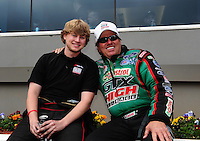 Apr. 15, 2012; Concord, NC, USA: NHRA funny car driver Blake Alexander (left) with John Force during the Four Wide Nationals at zMax Dragway. Mandatory Credit: Mark J. Rebilas-